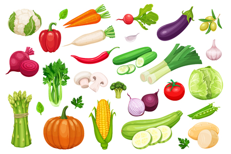 Vector vegetables icons set in cartoon style. Collection farm product for restaurant menu, market label. Ilustração
