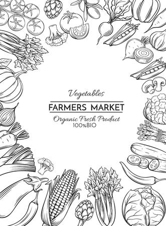 Plakatschablone mit Hand gezeichnetem Gemüse für Landwirtmarktmenüdesign. Vektor-Vintage-Illustration. Standard-Bild - 75984894