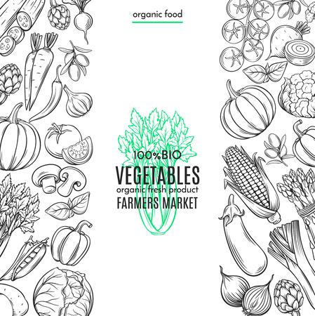 農民市場メニュー デザインの手描き野菜付きポスター テンプレート枠。  イラスト・ベクター素材