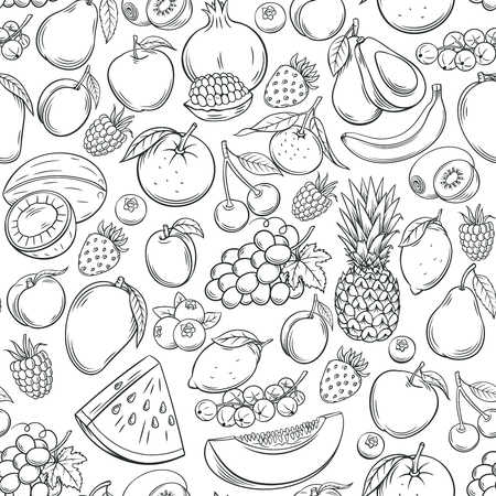 Hand drawn fruits seamless pattern.
