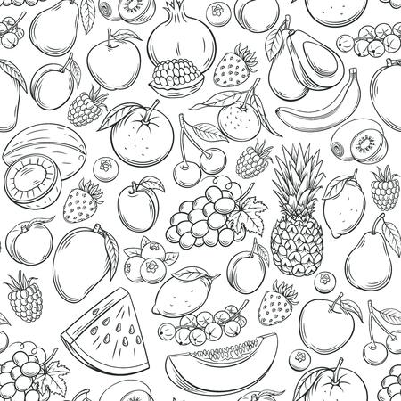 Hand drawn fruits seamless pattern.