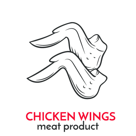 Hand drawn chicken wings icon. Illustration