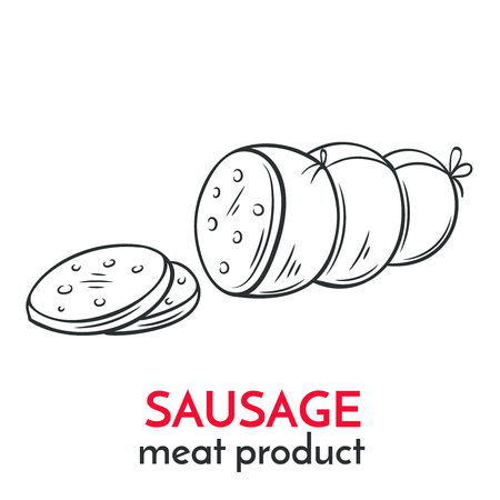 veal sausage: Hand drawn sausage icon. Illustration