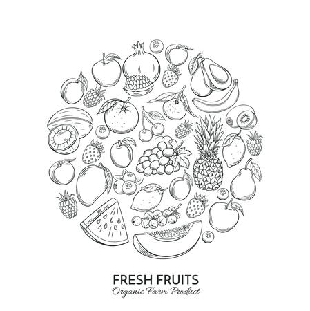 ポスター ラウンド手描き果物と組成