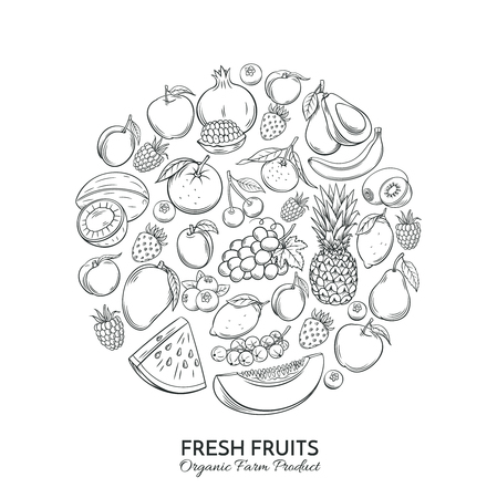 Poster round composition with hand drawn fruits 免版税图像 - 78956084