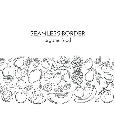 Naadloze grenzen met handgetekende vruchten