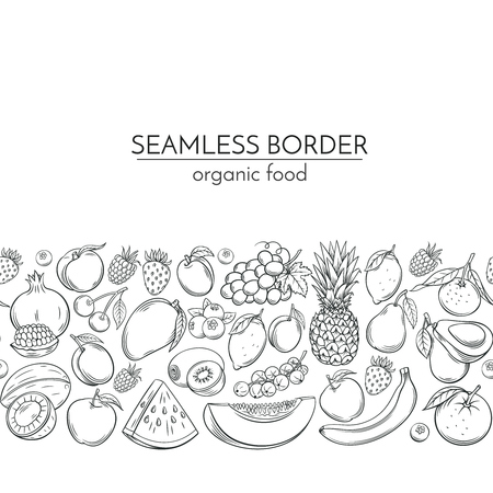 Seamless borders with hand drawn fruits Ilustração