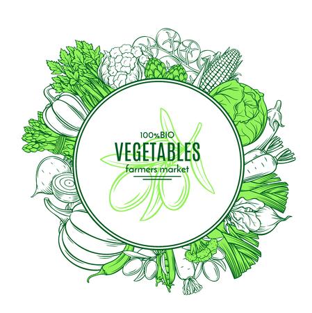 手描き野菜とフレーム