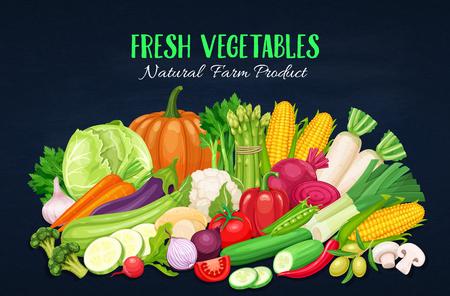 野菜のカラフルな有機バナー。