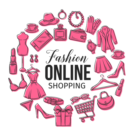 set of online fashion shopping icons
