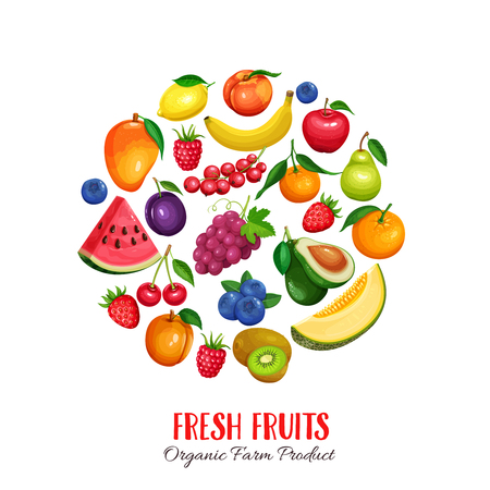 berries and fruits round poster