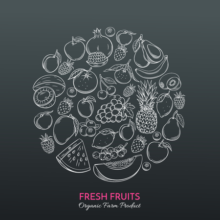 hand drawn fruits for farmers market Illustration