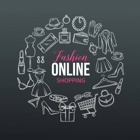 A hand drawn set of online fashion shopping icons illustration. Illustration