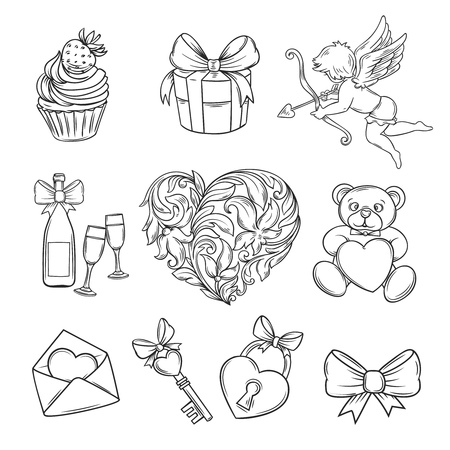 champagne celebration: Hand drawn valentines day icons.