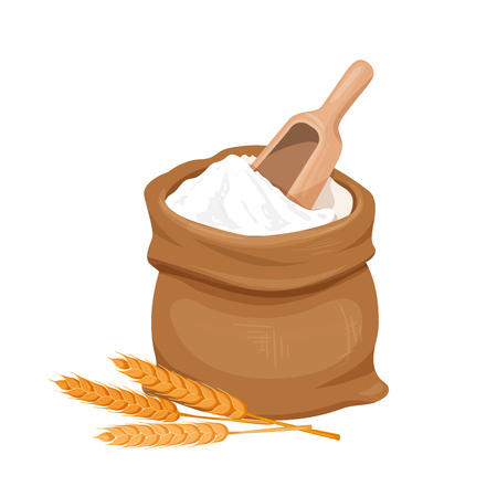 Bag of flour and wheat icon Illustration