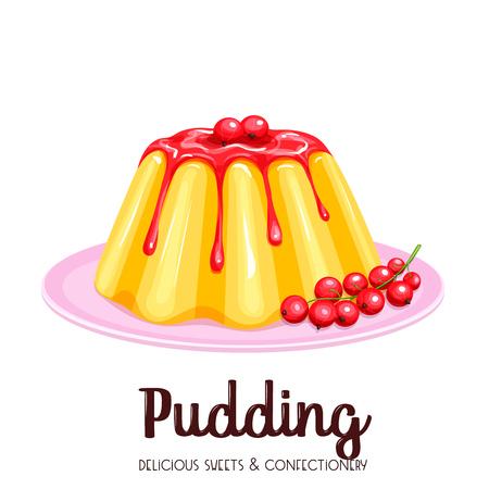 Vanilla pudding with syrup Illustration