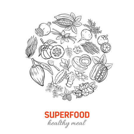 Vector hand drawn Superfood round poster.