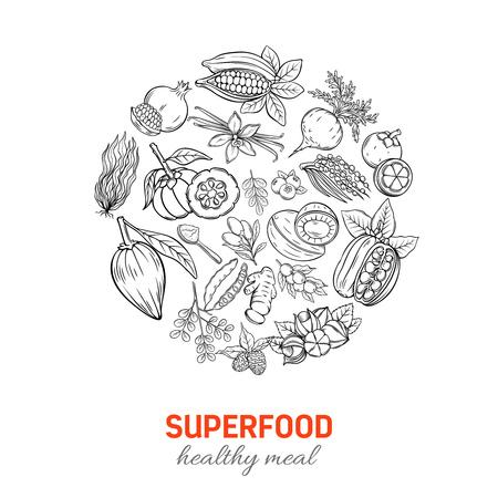 Affiche ronde dessinée à la main de Superfood dessiné à la main.