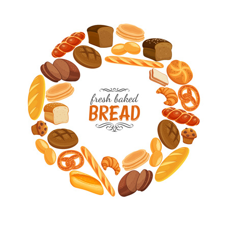 Bread products round frame poster Illustration