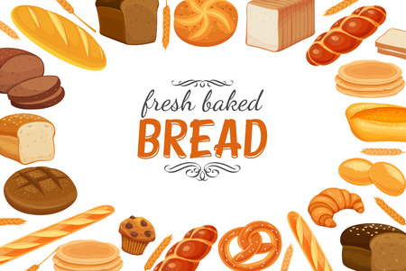 Poster template with bread products. Illustration