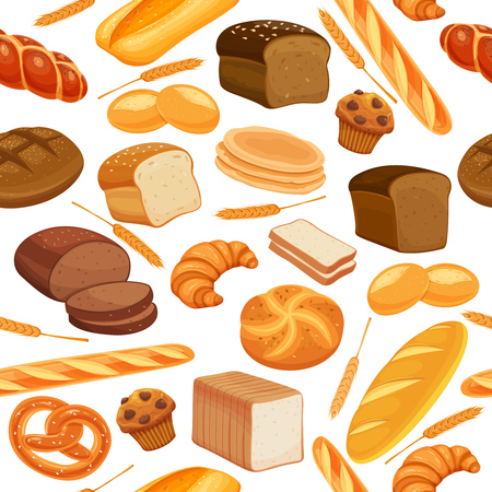 Vector seamless pattern with breads Illustration