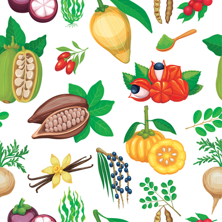 Vector hand drawn superfood seamless pattern. Illustration