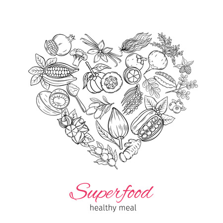 Vector hand drawnn superfood Ilustrace