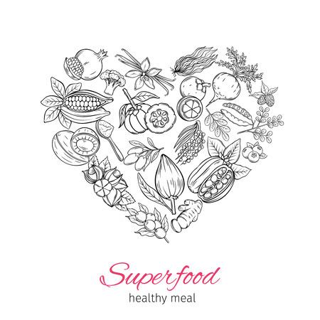 Vektor Hand gezeichnete Superfood Standard-Bild - 87836854
