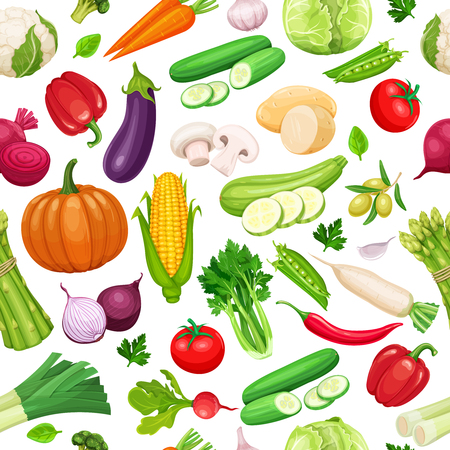 Vegetables seamless pattern. Illustration