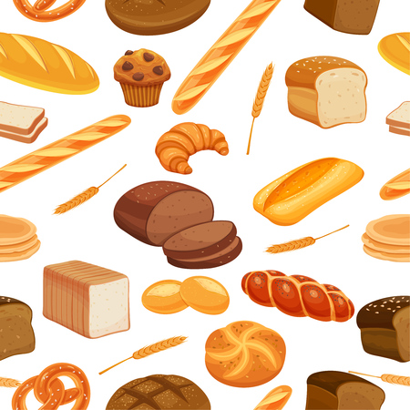 Vector seamless pattern bread