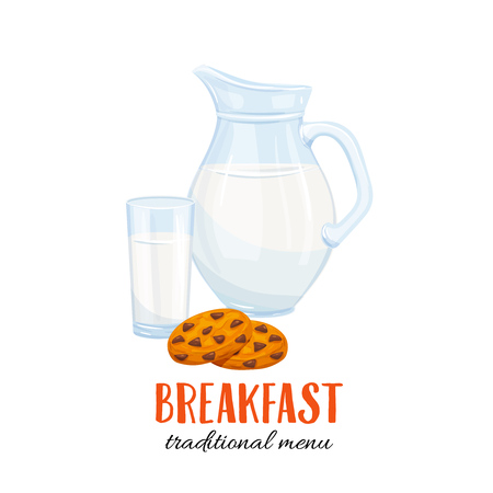 vacas lecheras: milk jug and glass with biscuit