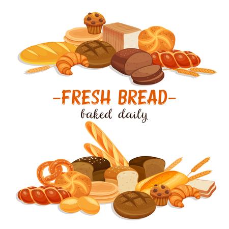 Baner z produktami chlebowymi. Chleb żytni i precel, muffin, pita, ciabatta i croissant, pszenica i chleb pełnoziarnisty, bajgiel, tosty, francuska bagietka do piekarni z menu projektowym.
