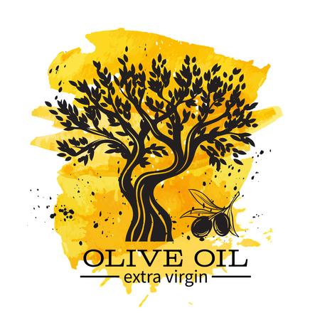 Insegna dell'olio d'oliva con di olivo disegnato a mano nel retro stile di schizzo per l'etichetta greca antica, mercato dell'emblema. Disegno ad acquerello Vettoriali