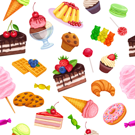 macaron: Vector seamless pattern with confectionery and sweets icons. Dessert, lollipop, ice cream with candies, macaron and pudding. Donut and cotton candy, muffin, waffles, biscuits and jelly.