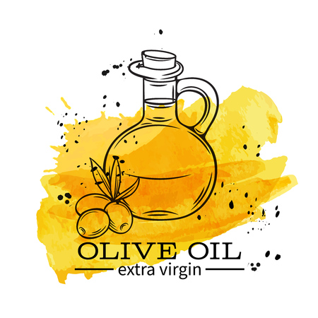 Vector glass bottle of olive oil and olives with leaves. Illustration outline in retro sketch style. Watercolor design. Illustration