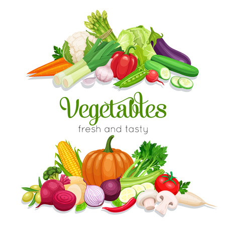 Banner with vector vegetables. Concept healthy food. Onion, zucchini, eggplant and asparagus. Corn, celery, mushrooms or daikon et al.