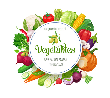 Round banner with vector vegetables. Concept healthy food. Cabbage, pepper, beets, or carrots. Onion, zucchini, eggplant and asparagus. Corn, celery, mushrooms or daikon et al.