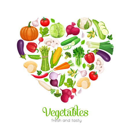 Banner template heart shaped with vector vegetables. Concept healthy food. Cabbage, pepper, beets, or carrots. Onion, zucchini, eggplant and asparagus. Corn, celery, mushrooms or daikon et al.