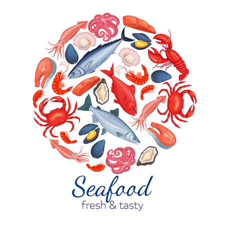 Round template seafood page design