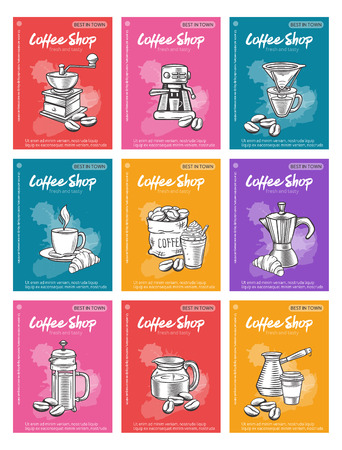 Poster vector template coffee illustration.