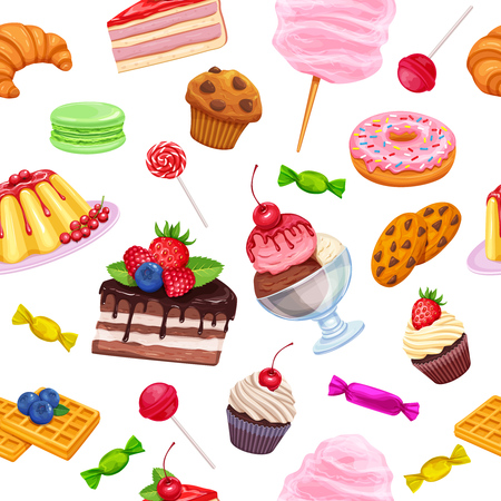 macaron: seamless pattern with confectionery and sweets Illustration