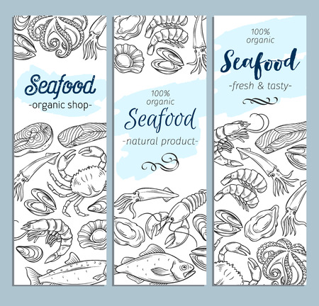 banner template hand drawn seafood Stock Illustratie