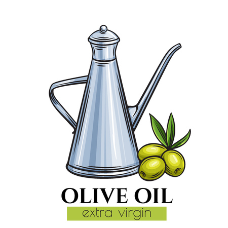 Olive oil metal dispenser with olives. Sketch food design .