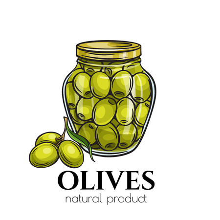 Canned olives in glass jar. Illustration outline food product in retro sketch style.