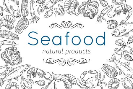 Hand drawn seafood design.
