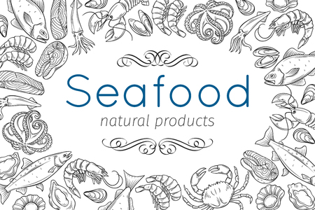 Hand drawn seafood design.