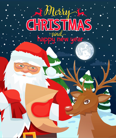 ard with Santa Claus and deer Stock Photo