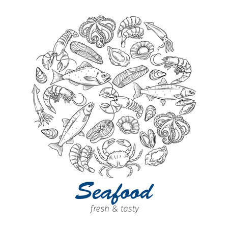 Hand drawn seafood design