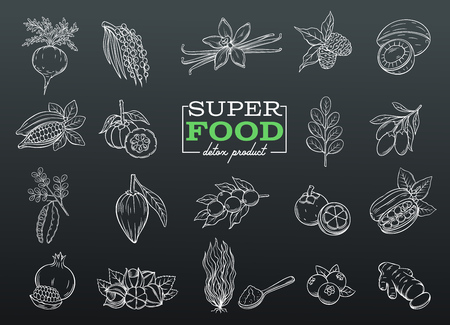 Sketch of super food in black background. Illustration