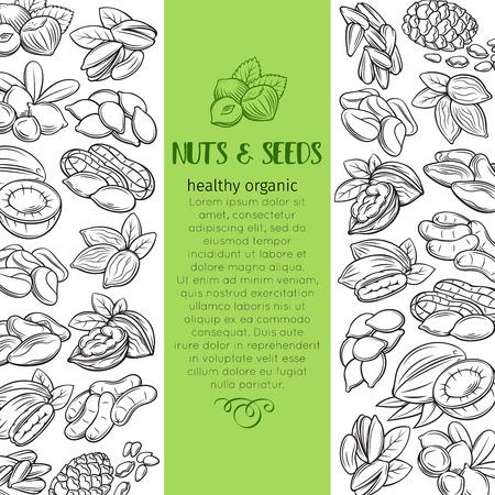 hand drawn nuts and seeds Ilustração